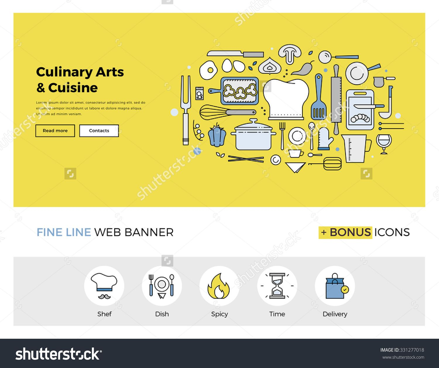Flat line design of web banner template with outline icons of flat line design of web banner template with outline icons of master class for culinary art pronofoot35fo Images