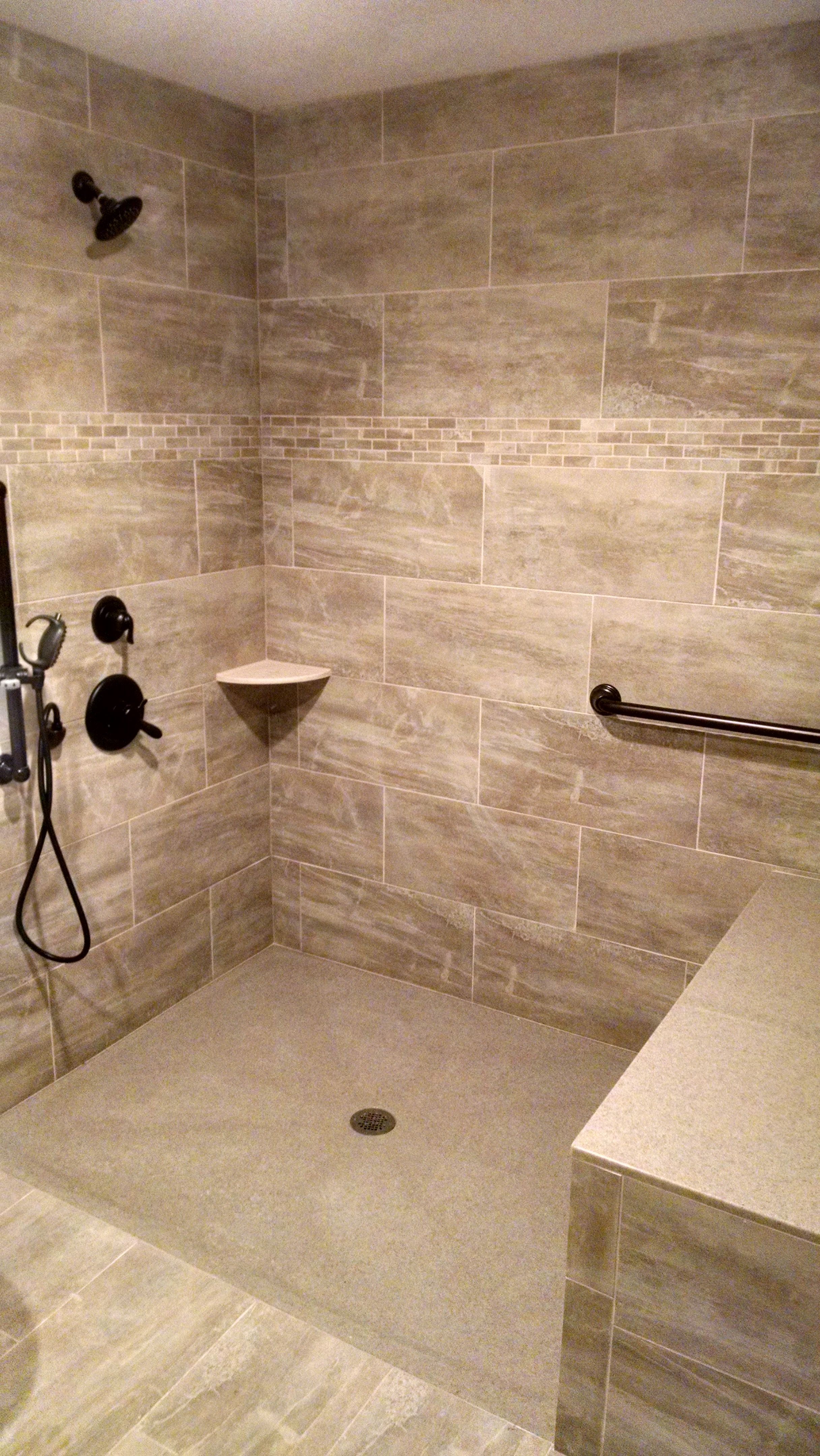 Gorgeous wheelchair roll in shower with grab bar and hand held ...