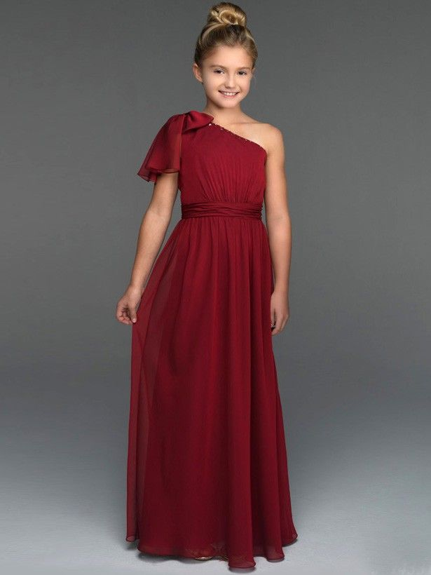 One shoulder junior bridesmaid dress ju001 flower girl for Dresses for juniors for weddings