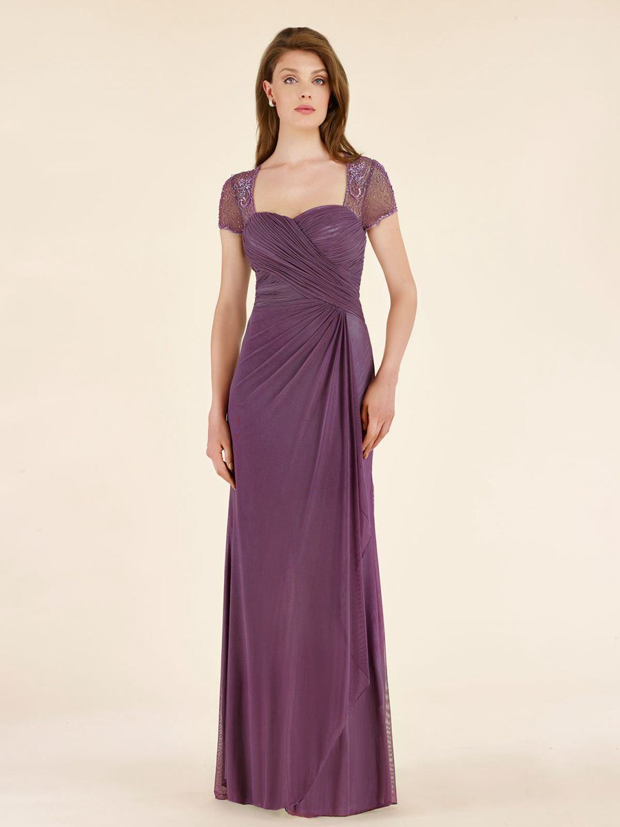Cap Sleeves Illusion Neckline Beaded Chiffon Mother of The Bride ...