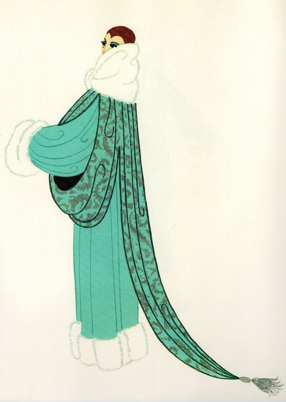 elegance chic original vintage erte art deco print fashion book