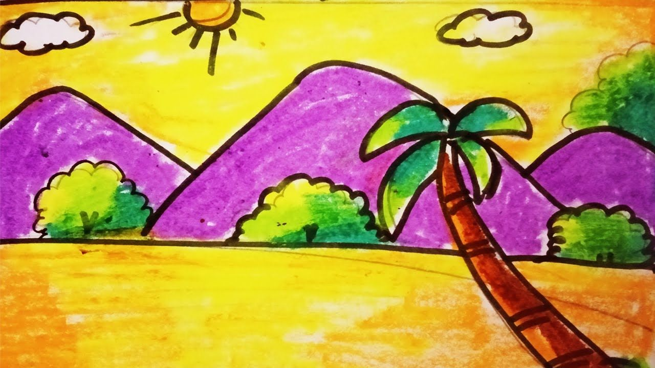 Scenery For Kids Coloring Drawing For Kids Nature Drawing In 2020 With Images Nature Kids Coloring For Kids Nature Drawing
