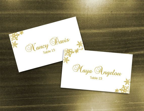 Diy Printable Wedding Place Name Card Template Editable Ms Word File 3 5 X 2 Instant Download Winter Gold Snowflakes Wedding Place Names Wedding Name Cards Wedding Places