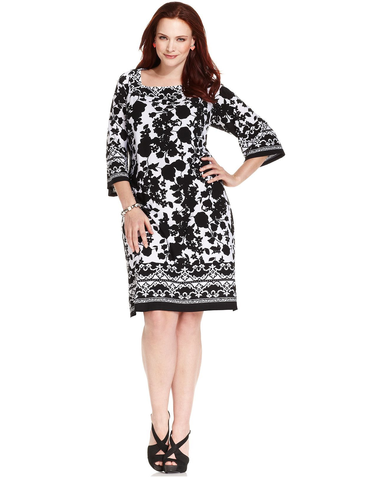 Ny Collection Plus Size Dress Three Quarter Sleeve Printed Plus