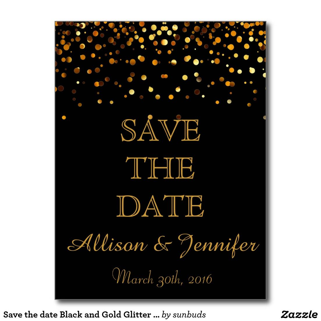 661125743ee Save the date Black and Gold Glitter Faux Foil Announcement Postcard ...