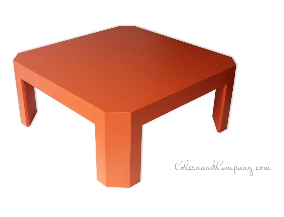 Coleen And Company Capri Coffee Table Linen Wrapped And Lacquered In Parrot Orange Http Www