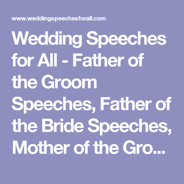 Wedding Speeches For All