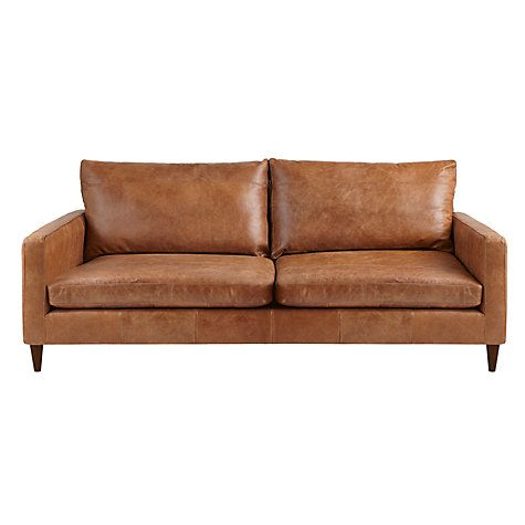 Bailey Large 3 Seater Leather Sofa, Lustre Cappuccino