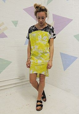 Black & Yellow exotic floral open back Shift Dress