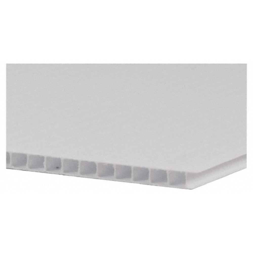 48 In X 96 In X 0 157 In White Twin Wall Sheet Case Of 8 110143 The Home Depot Corrugated Plastic Sheets Corrugated Plastic Plastic Sheets