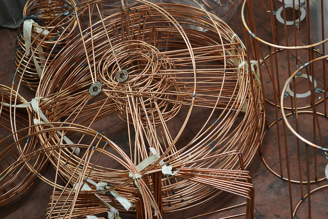 Solid Copper Wire Forms The Frame And Fittings For Our Custom Lampshades Lampshades Grapevine Wreath Grape Vines
