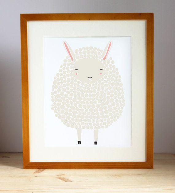 Gray Sheep Art Print Nursery Lamb By Gingiber