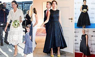 Crown Princess Mary wore the brocade gown from the H&M Exclusive Conscious Collection to host host a Copenhagen Fashion Summit 2016 at the Amalienborg Palace.