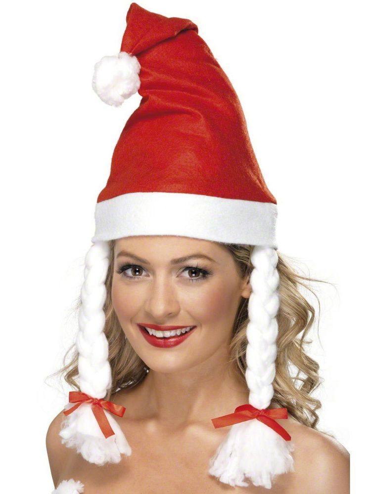 5f083f4a SANTA HAT WITH PLAITS LADIES CHRISTMAS SANTA CLAUS FANCY DRESS HAT #Smiffys