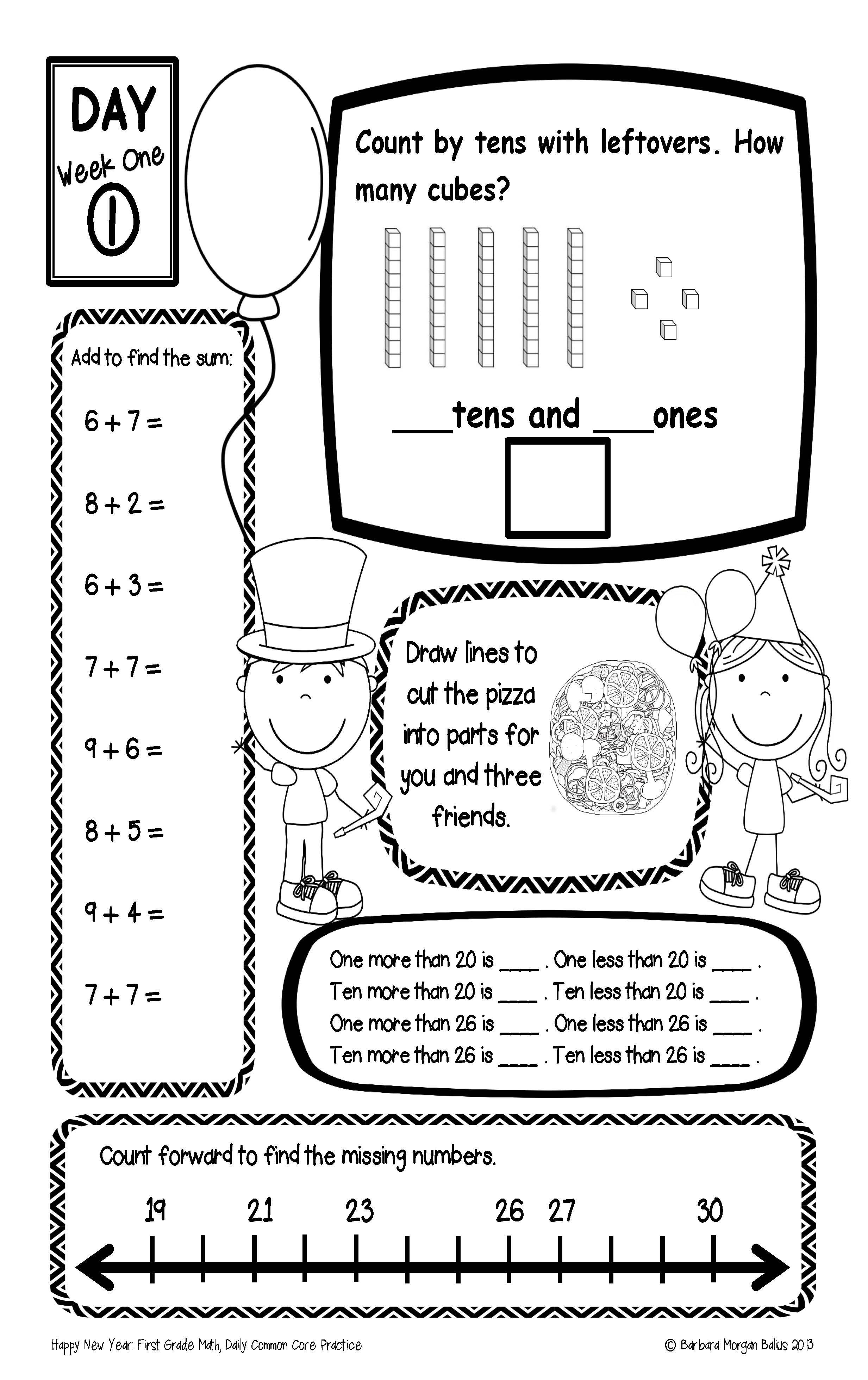 New Years Math Common Core First Grade Practice