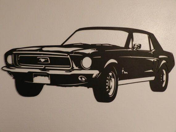 Vintage Ford Mustang Metal Wall Art Etsy Car Silhouette Metal Wall Art Ford Mustang