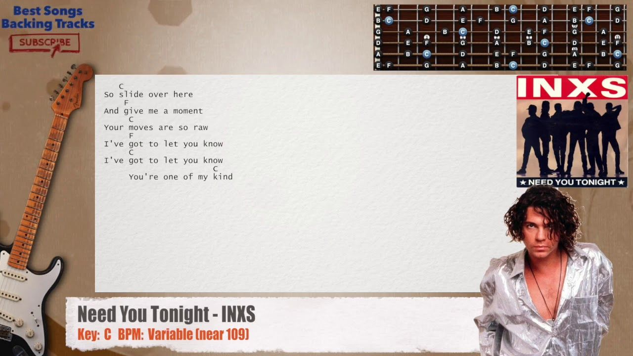 Need You Tonight Inxs Guitar Backing Track With Chords And Lyrics