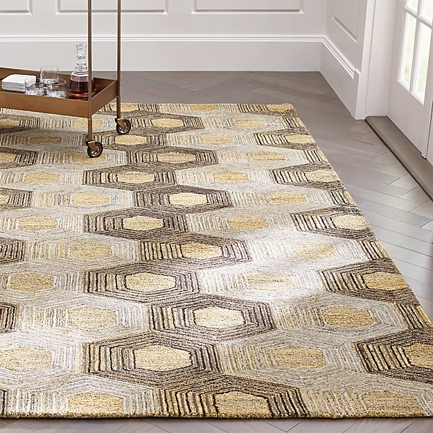Gramercy Hexagon Pattern Rug Crate And Barrel In 2020 Hexagon Pattern Rug Pattern Rugs