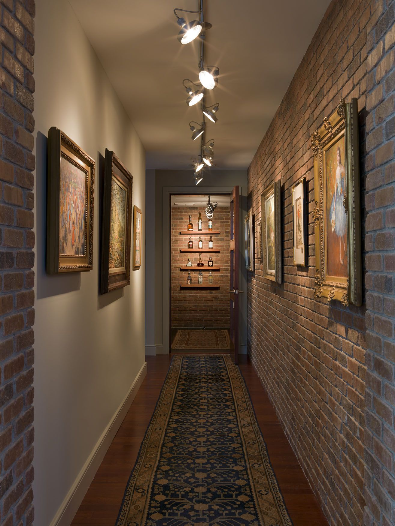Wine gallery interior brick wall antique oushak rug brick wine gallery interior brick wall antique oushak rug aloadofball Choice Image
