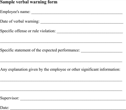 Sample Verbal Warning  TemplatesForms    Template