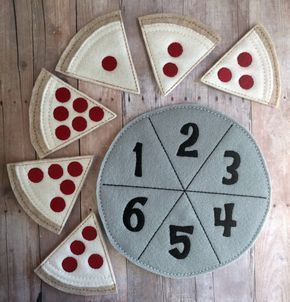 Pizza Number Matching Game, Embroidered Acrylic Felt, 6 pizza slices and felt pan, Educational Preschool Game, Made in USA | Jaida's Pins
