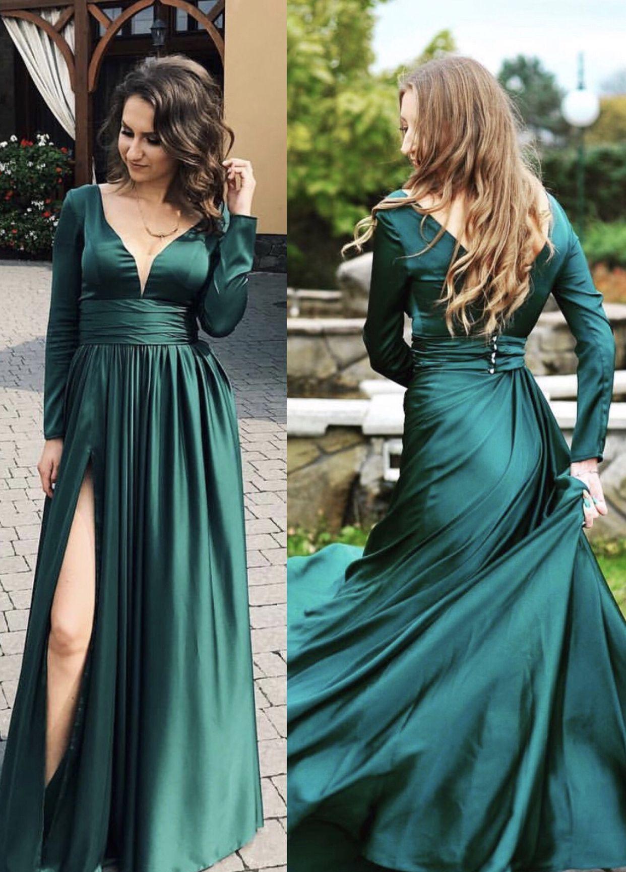 Long Sleeves Evening Dresses Chiffon V Neck Split Prom Dress Prom Dresses Long With Sleeves Green Prom Dress Green Prom Dress Long [ 1730 x 1242 Pixel ]