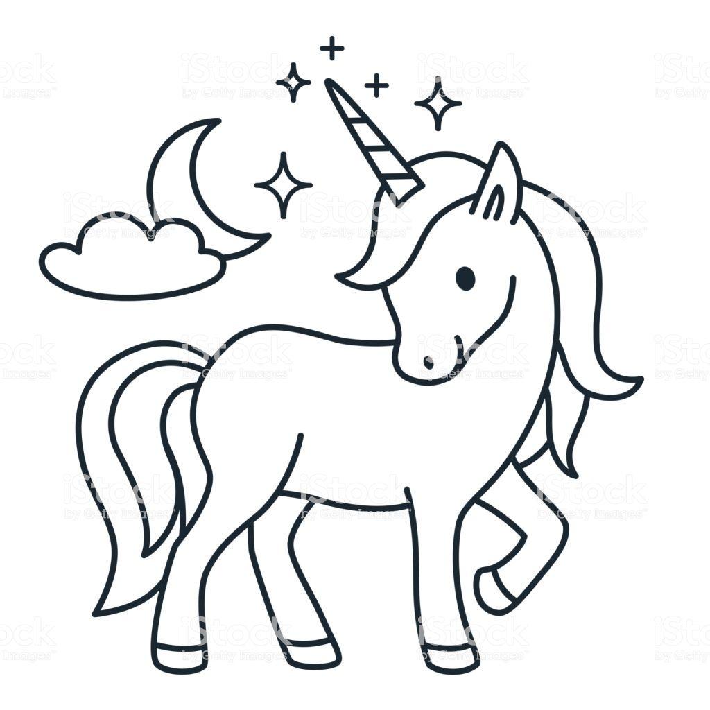 Cute Unicorn Simple Cartoon Vector Coloring Page Illustration