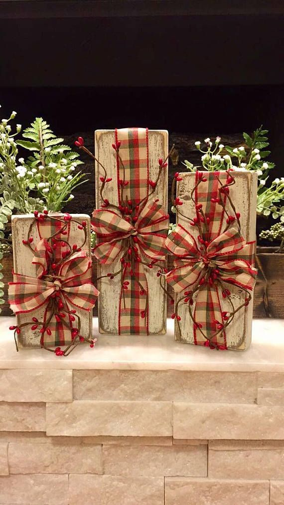 Rustic Wooden Packages Christmas Decor Set ad