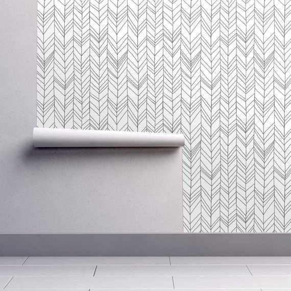 Chevron Wallpaper Featherland White Gray By Leanne Custom Etsy Chevron Wallpaper Self Adhesive Wallpaper Peel And Stick Wallpaper