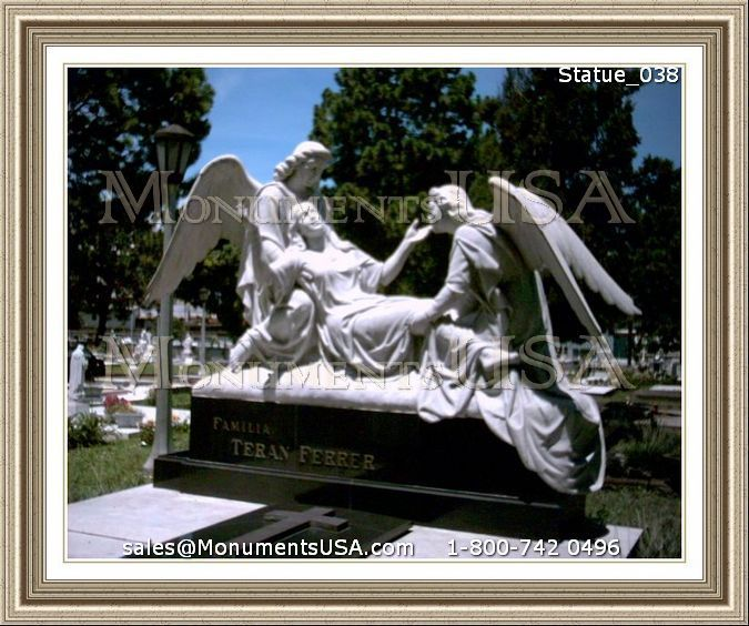 Small Angel Statues For Graves: High Relief Granite Grave