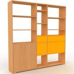 Photo of Wohnwand Buche – Individuelle Designer-Regalwand: Schubladen in Gelb & Türen in Gelb – Hochwertige M