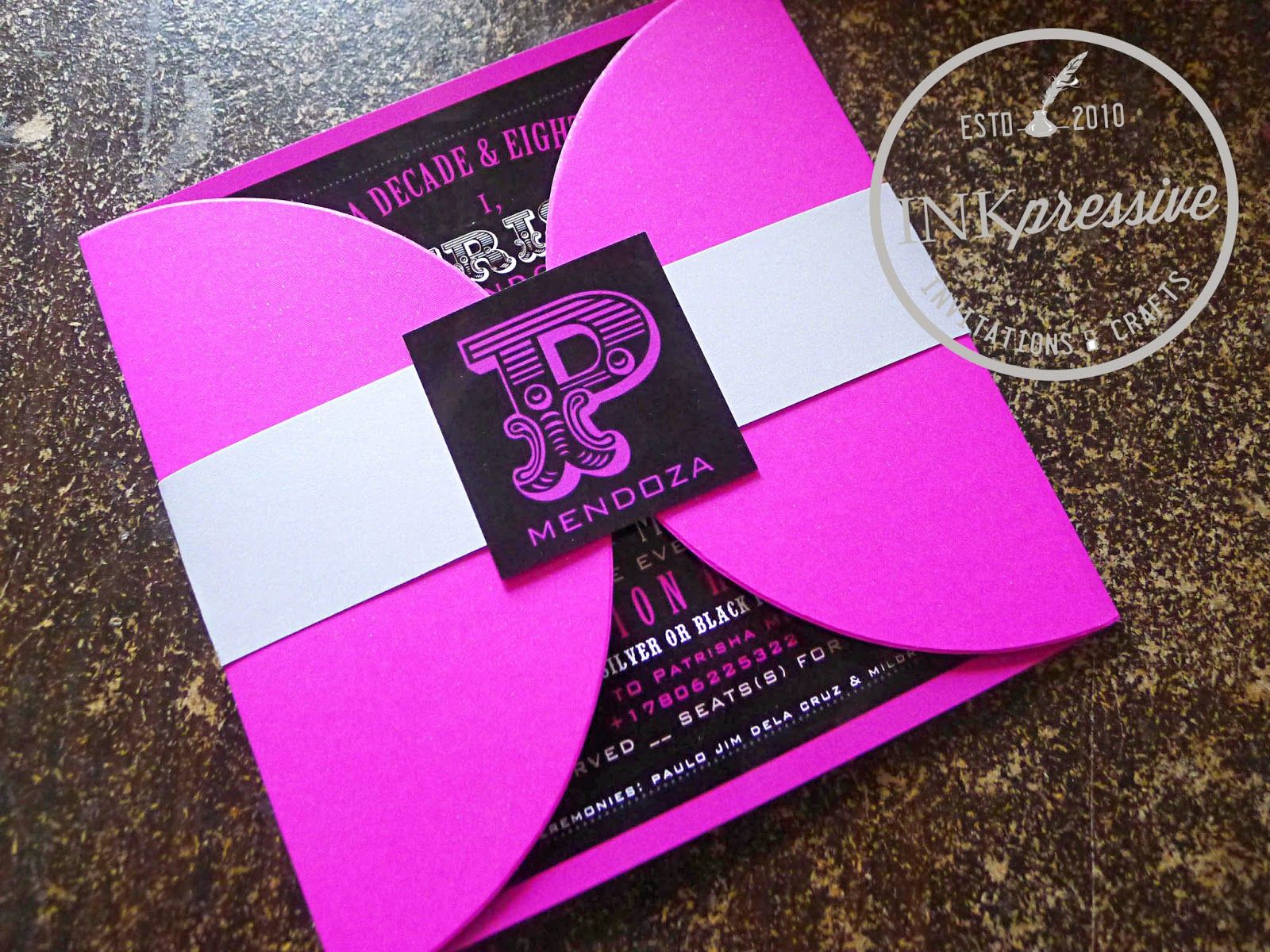 Debut Invitation Hot Pink and Black Half Petal Envelope – Party Invitation Envelopes