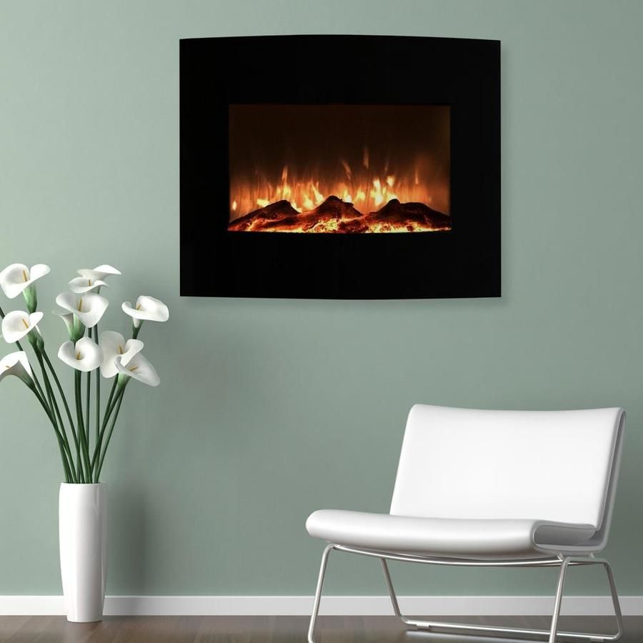 Hastings Home 25 In W Black Led Electric Fireplace Lowes Com Black Fireplace Wall Freestanding Fireplace Wall Mount Fireplace