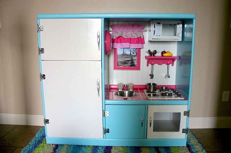 Play Kitchen Made From An Old Entertainment Center Entertainment