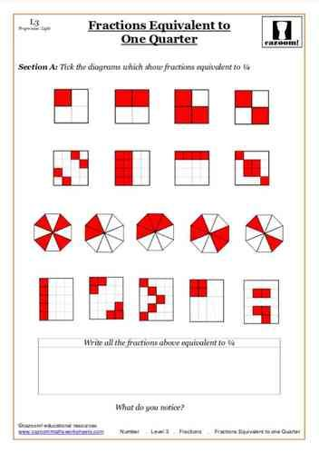 Fractions Equivalent To One Quarter Maths Worksheet Math Worksheet Worksheets Math Resources