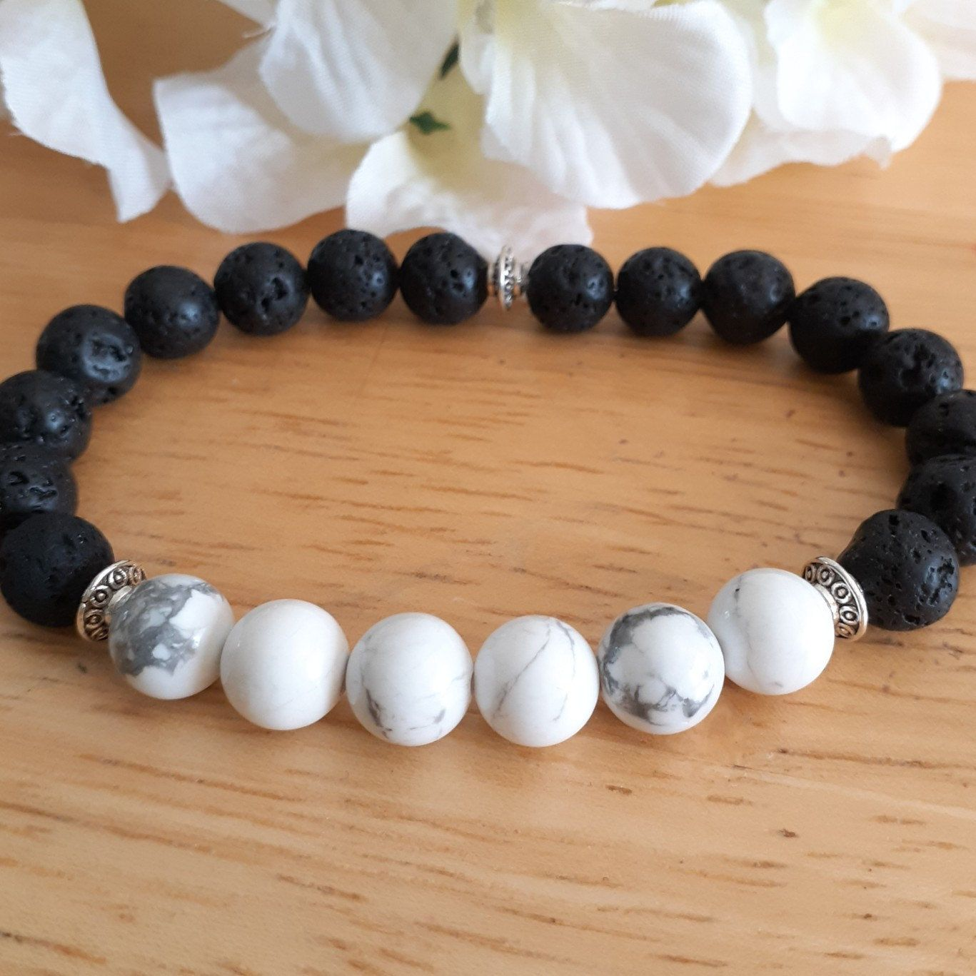 Couples lava rock bracelet with white howlite essential