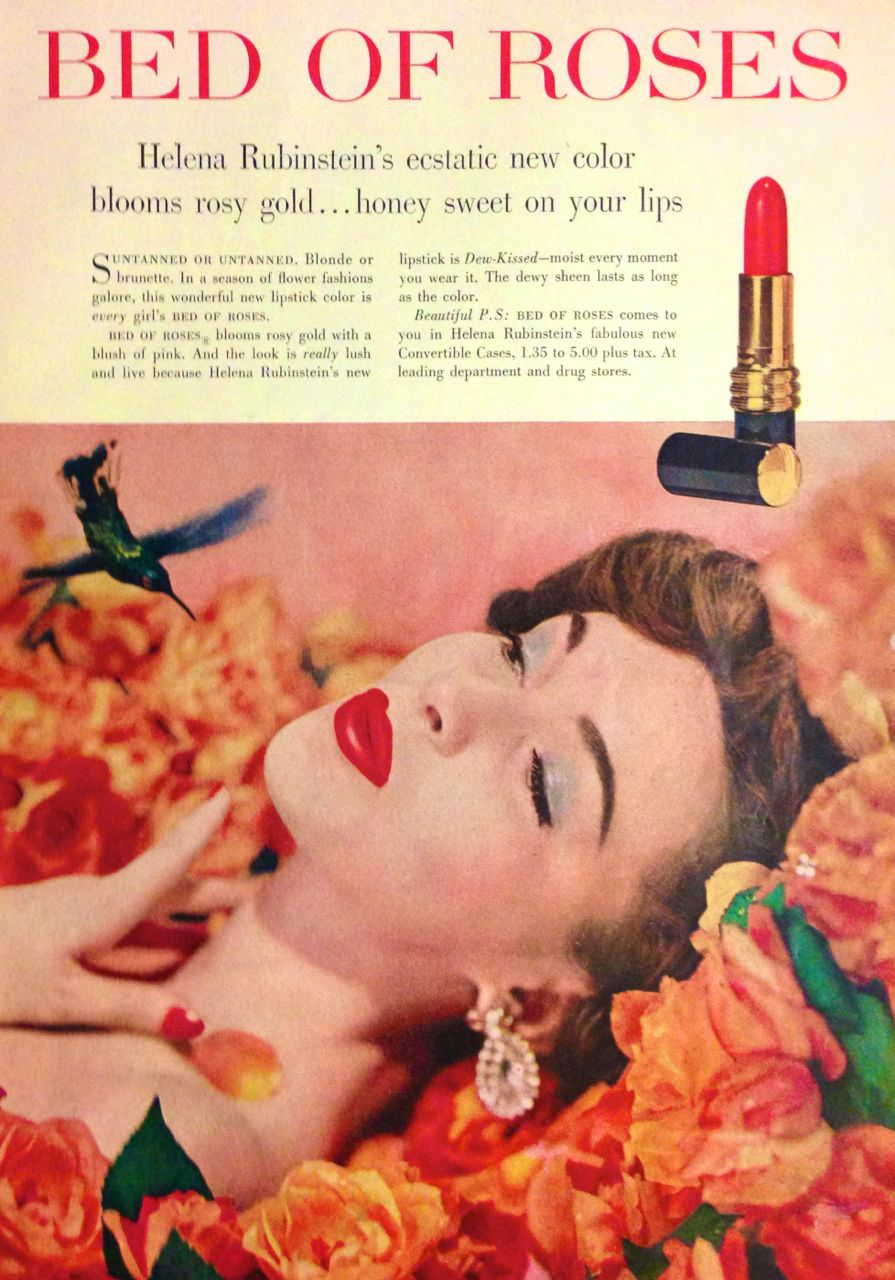 helena rubinstein bed of roses lipstick ad 1958 lips and lashes pinterest. Black Bedroom Furniture Sets. Home Design Ideas