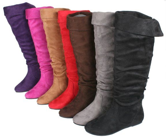 b1c075471cfa8 Amazon.com: STORY Cookie-1A Women's Flat Bottom Suede Knee High Tall ...