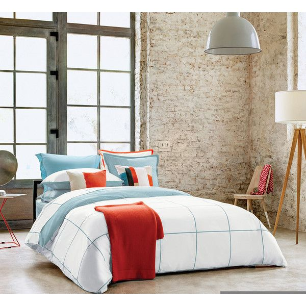 Olivier Desforges Cadence Duvet Cover - Turquoise - Double ($135) ❤ liked on Polyvore featuring home, bed & bath, bedding, duvet covers, turquoise, king size fitted sheet, king pillowcase, turquoise pillow cases, cotton bedding and cotton fitted sheet