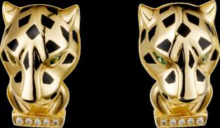 Panthère de Cartier earrings Yellow gold, lacquer, diamonds, tsavorite garnet, onyx