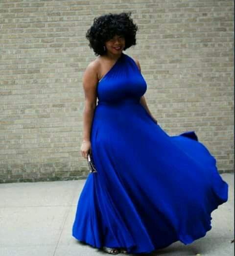 Maxi Vestido Azul Rey Estilo De Chica Con Curvas Moda