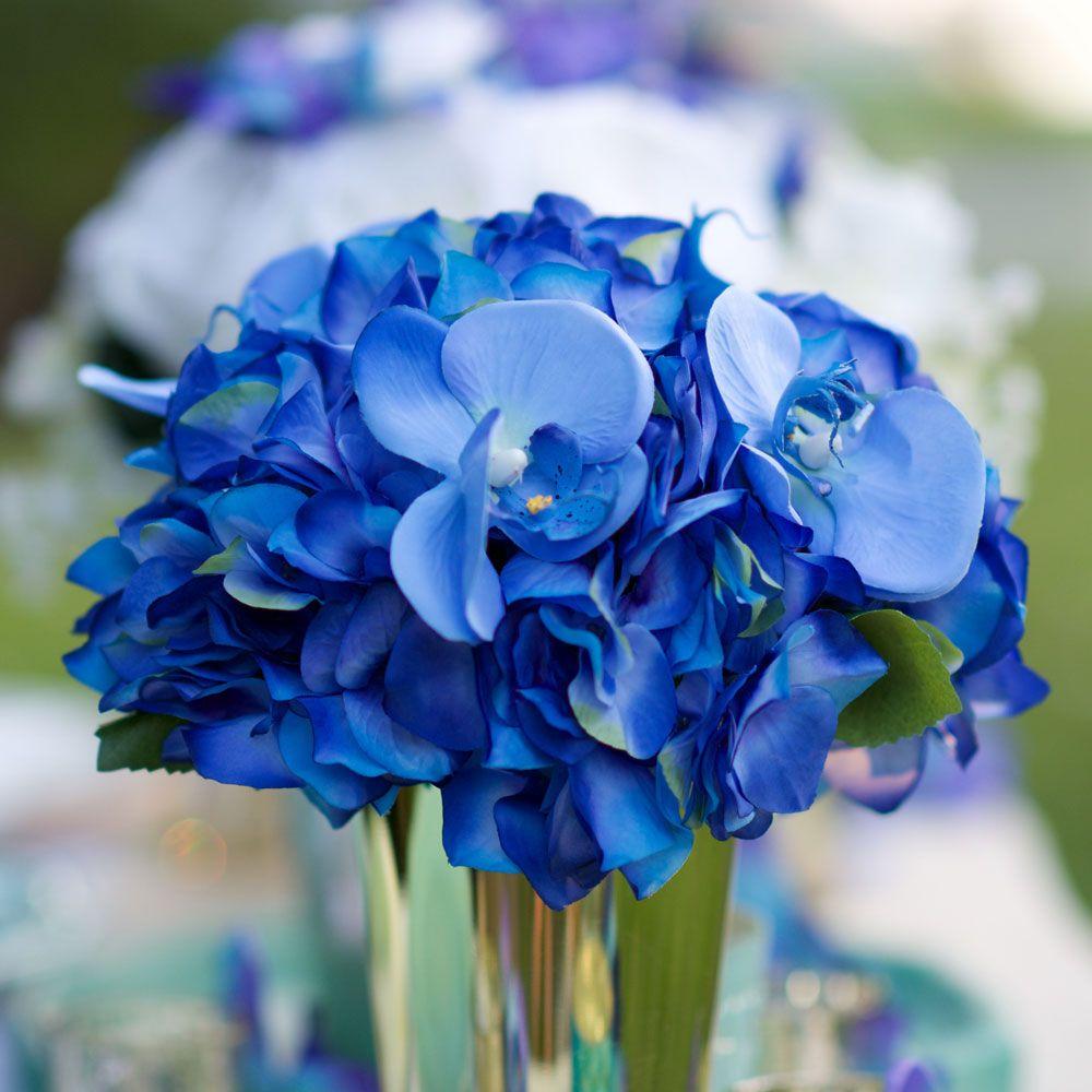 Hydrangea Destination Wedding Silk Bouquet In Blue Artificial