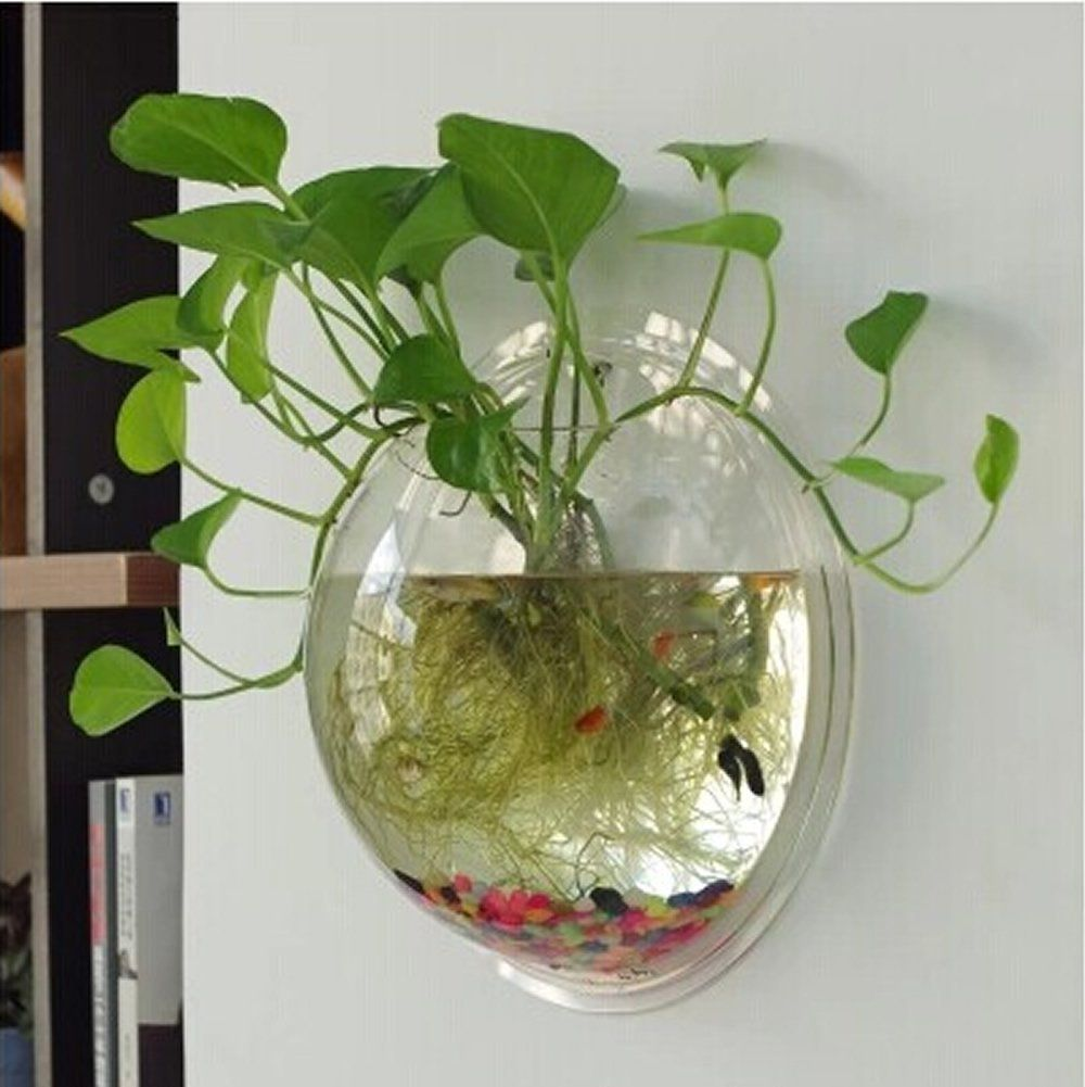 How To Decorate Fish Bowl Ling's Shop Home Decoration Pot Wall Hanging Mount Bubble Aquarium