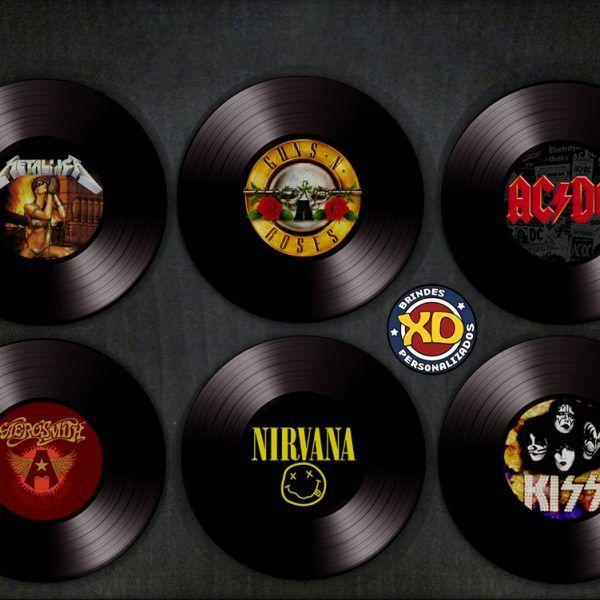 Kit C 6 Porta Copos Lps Maiores Bandas De Rock Rock Room
