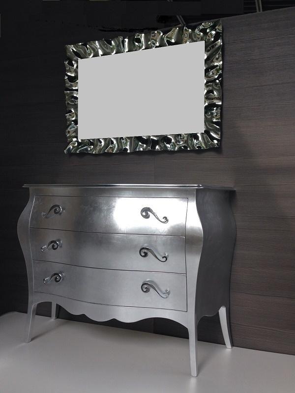 Comò 3 cassetti foglia d\'argento e specchio | Shopping on-line nel ...