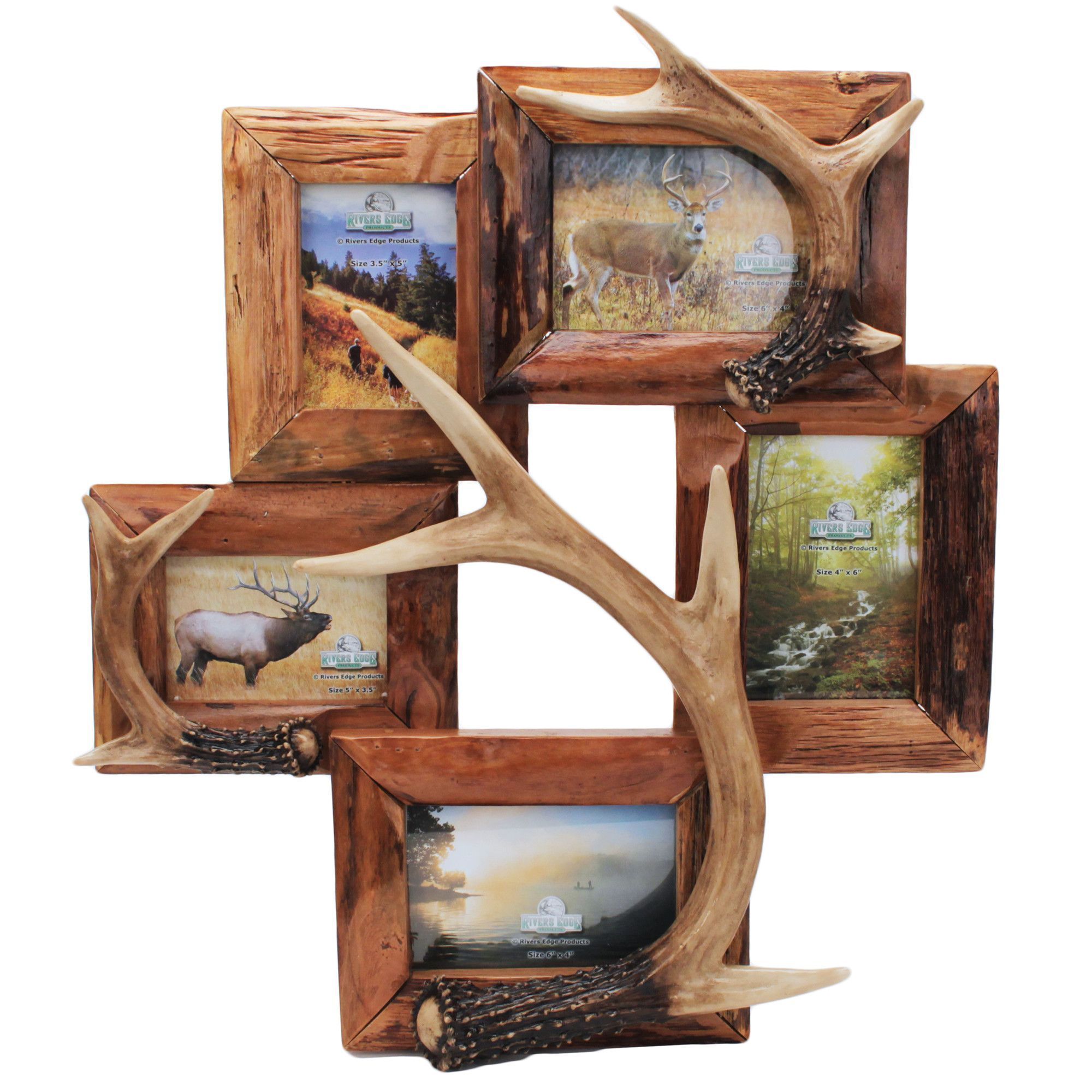 Features 5 photo picture frame genuine firwood frame with features 5 photo picture frame genuine firwood frame with realistic resin deer jeuxipadfo Images