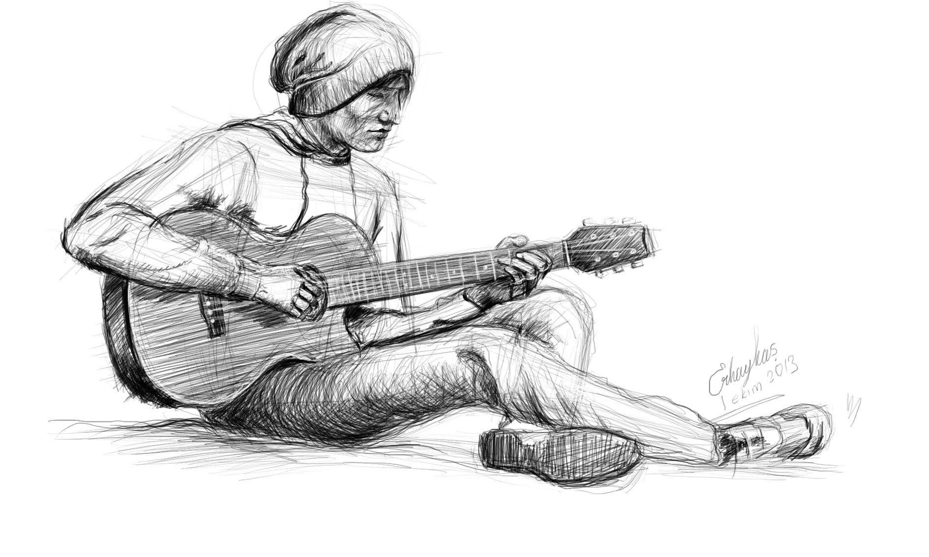 картинки карандашом про гитариста удачный гибрид