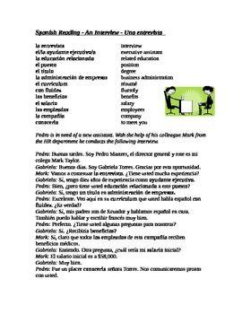 Spanish Interview Reading: Entrevista Lectura (Job Search / Trabajo / Carrera)   Vocabulary in ...