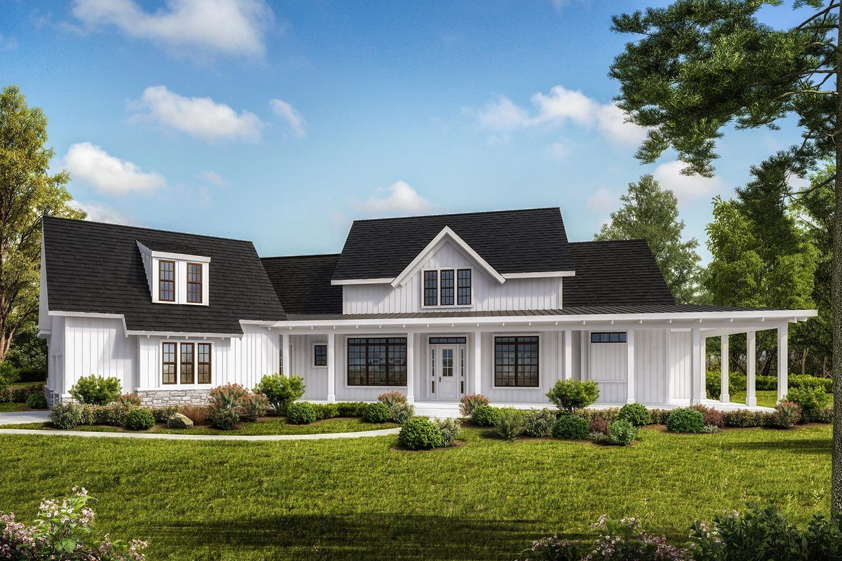 Plan 25663ge Grand One Level Farmhouse Plan With Optional Lower Level Modern Farmhouse Plans Farmhouse Plans House Plans Farmhouse