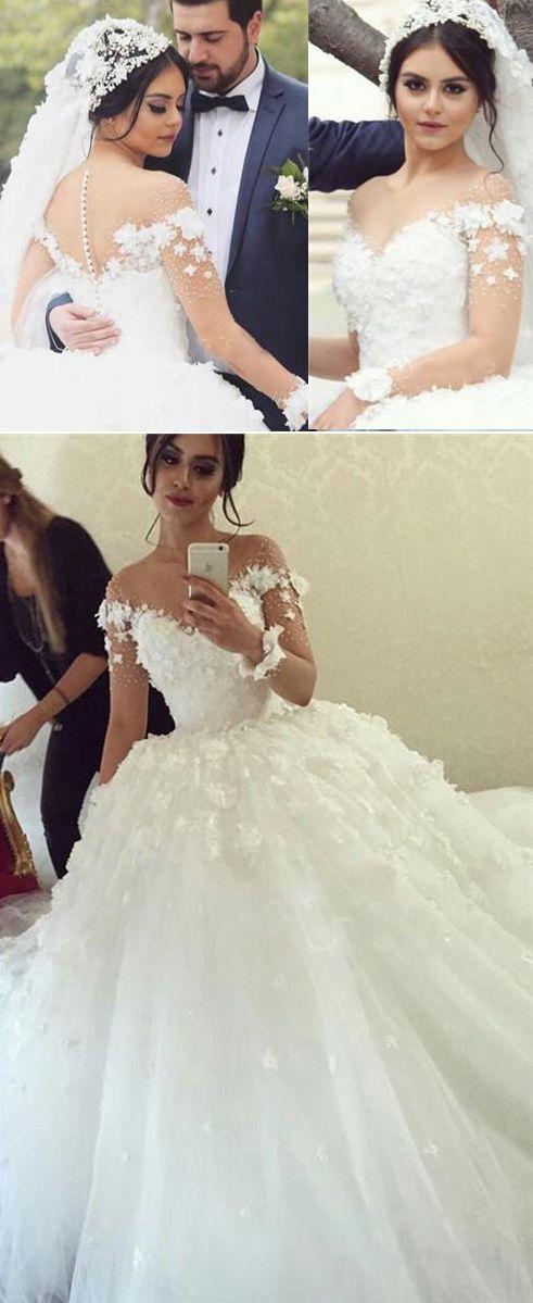 Decent Ball Gown Wedding Dress - Crew Neck Long Sheer Sleeves Sweep ...